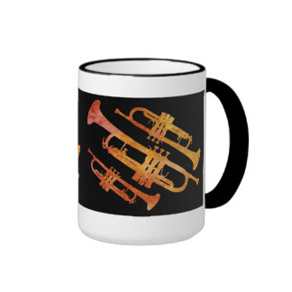 Sizzling Orange and Black Trumpet Wrap Ringer Mug