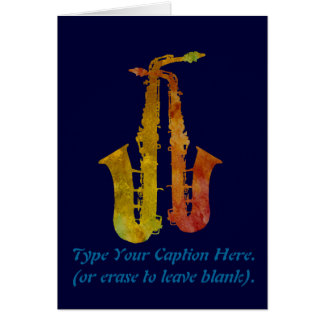Sizzling Saxes With Customizable Text Card