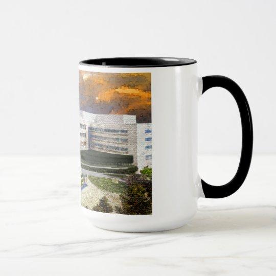 SJFoundation black rim coffee mug