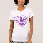 Sjogren's Syndrome Awareness Heart Words (Purple) Tees