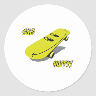 Sk8_Happy Classic Round Sticker