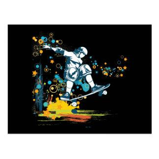 sk8er skateboarder vector postcard