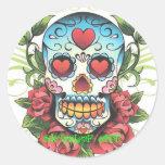 Sk8rzLyF Skull - Roses 001, Sk8rzLyF, eNT. Round Stickers