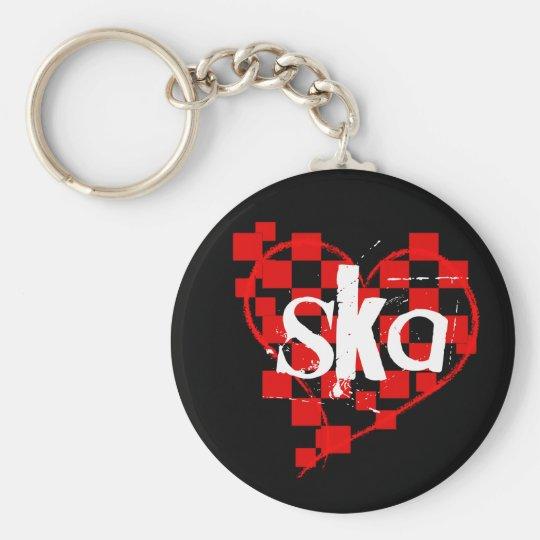 ska : checkered heart : keychain