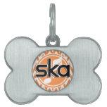 Ska; Chevron anaranjado y blanco Placa De Mascota