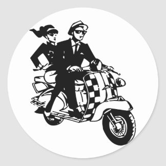 Ska Couple on Scooter (pack of 6/20) Classic Round Sticker