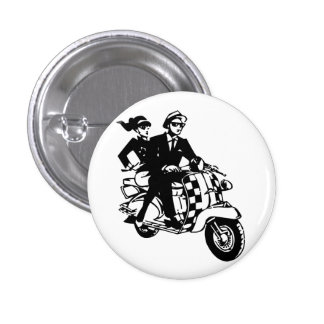 Ska Couple on Scooter Pinback Button