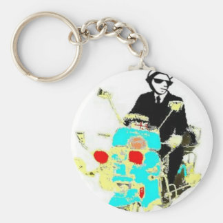 Ska on a Scoot. The 80's Ska man driving a scooter Basic Round Button Keychain