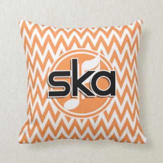 Ska; Orange and White Chevron Pillows
