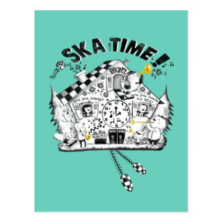 Ska Time Cuckoo Clock Postcard