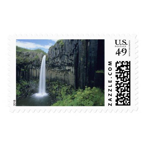Skaftafell National Park, Svartifoss waterfall, Stamp
