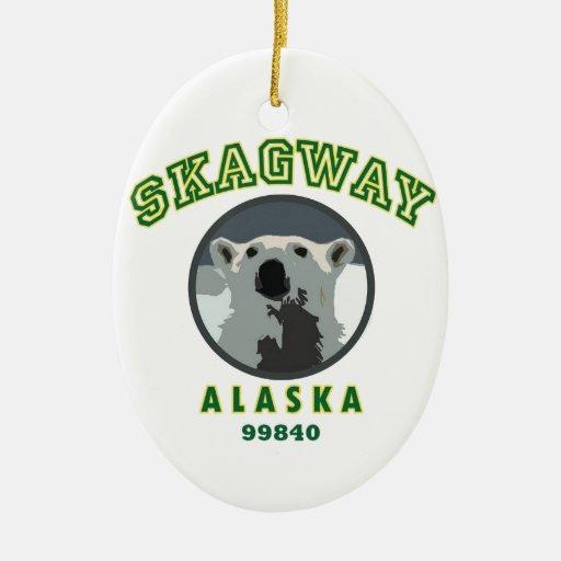Skagway Alaska Adorno Navideño Ovalado De Cerámica