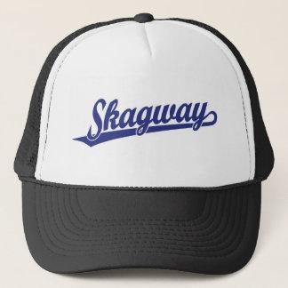 Skagway script logo in blue trucker hat