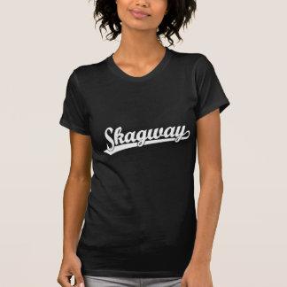 Skagway script logo in white tee shirt