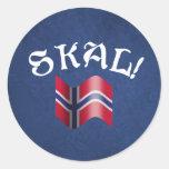 ¡Skal! Noruego Etiqueta Redonda