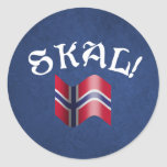 ¡Skal! Noruego Pegatina Redonda