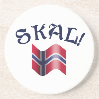 Skal Norwegian Drinking Toast with Flag of Norway Coaster