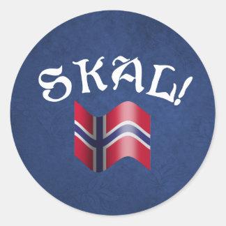 Skal Norwegian Flag Norway Drinking Toast Classic Round Sticker