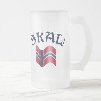 Skal Norwegian Flag Norway Drinking Toast Frosted Glass Beer Mug