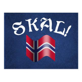 Skal Norwegian Flag Norway Drinking Toast Postcard