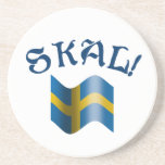 Skal Swedish Drinking Toast with Flag of Sweden Drink Coaster