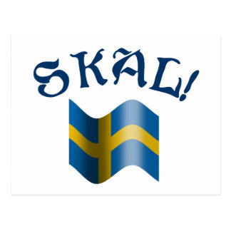Skal Swedish Flag Toast from Sweden Postcard