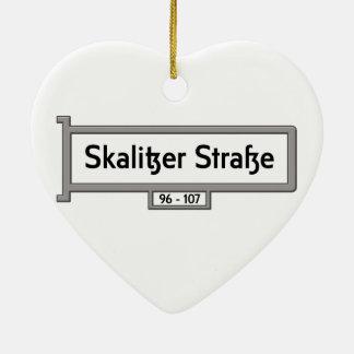 Skalitzer Strasse, placa de calle de Berlín Adorno De Cerámica En Forma De Corazón
