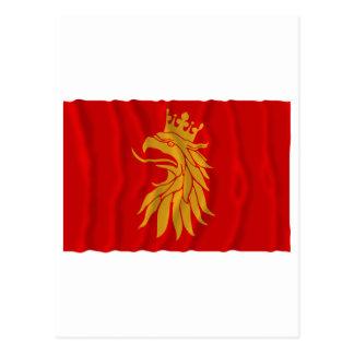 Skåne län waving flag postcard