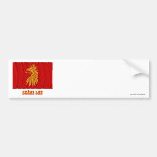 Skåne län waving flag with name bumper sticker