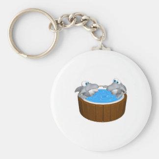 skarks in hot tub basic round button keychain
