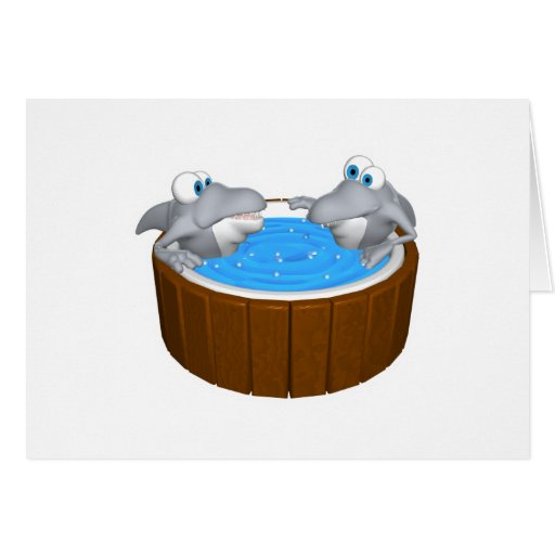 skarks in hot tub greeting card