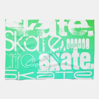 Skate; Aqua, Neon Green Gradient Towel