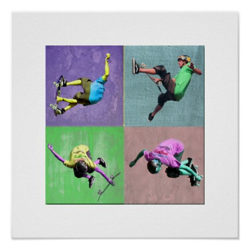 Skate Boarding Pop Art 2, Copyright Karen J Willia Poster
