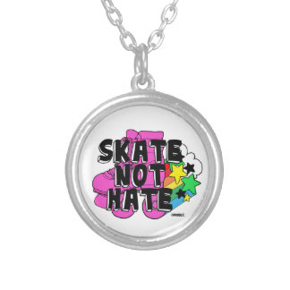Skate Not Hate Silver Plated Necklace