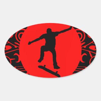 SKATE ON RED OVAL STICKER
