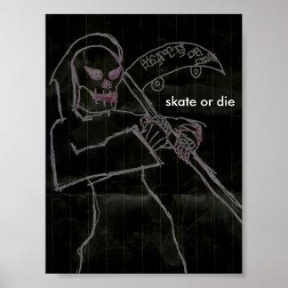 skate or die in black poster