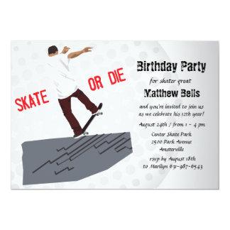 Skate or Die Skateboard Birthday Party Invitation