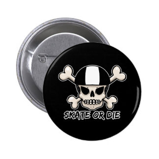 Skate or die skull and crossbones buttons