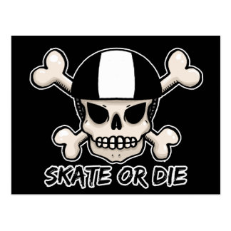 Skate or die skull and crossbones postcard