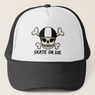 Skate or die skull and crossbones trucker hat