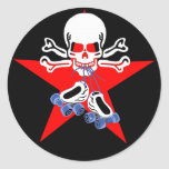 Skate or die with jammer star classic round sticker