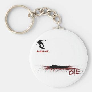 Skate or Morte Basic Round Button Keychain