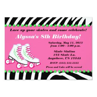 Skate Party Girls Zebra Print Birthday Invitation