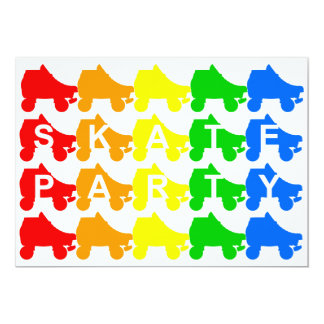 "skate party : rainbow quads 5"" x 7"" invitation card"
