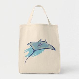 Skate Skates Rays Batoidea Ocean Art Blue Fish Canvas Bags