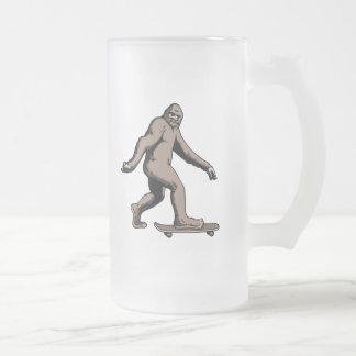 Skate Squatch Frosted Glass Beer Mug