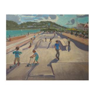 Skateboaders Teignmouth 2012 Impresiones En Madera