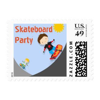 Skateboard Birthday Party Blue Postage