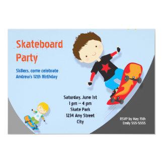 Skateboard Birthday Party Boys Blue Card