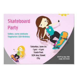Skateboard Birthday Party Girls Pink Card